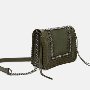 Zara Leather Crossbody Bag with Chain Olive 1346